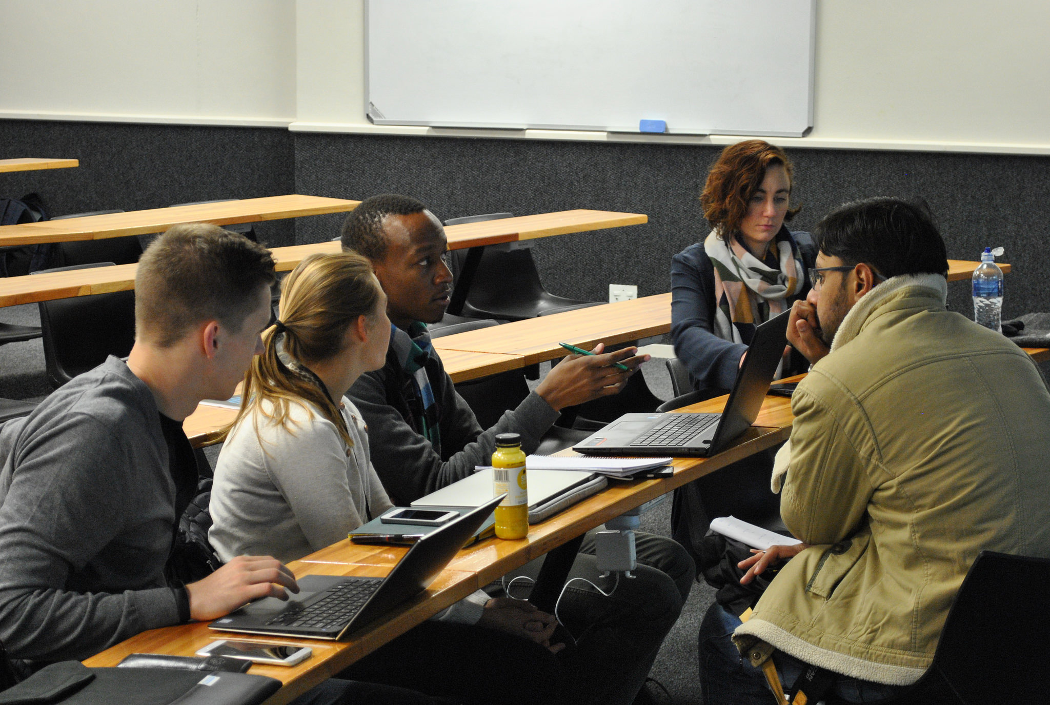 Concentrated study on the group project. Photo credit: Energy Politics Group and ETH Global.