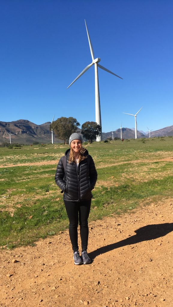 Andrea at the Gouda Wind Farm, one of the largest wind-farms in Southern Africa with 138 MW nameplate capacity.