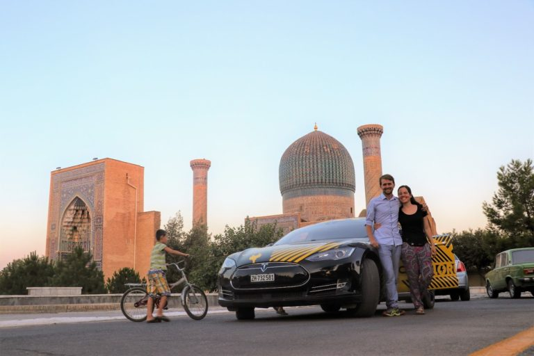 In front of Gur-e-Amir, Timur's mausoleum in Samarkand, one of the former capitals of the Silk Road