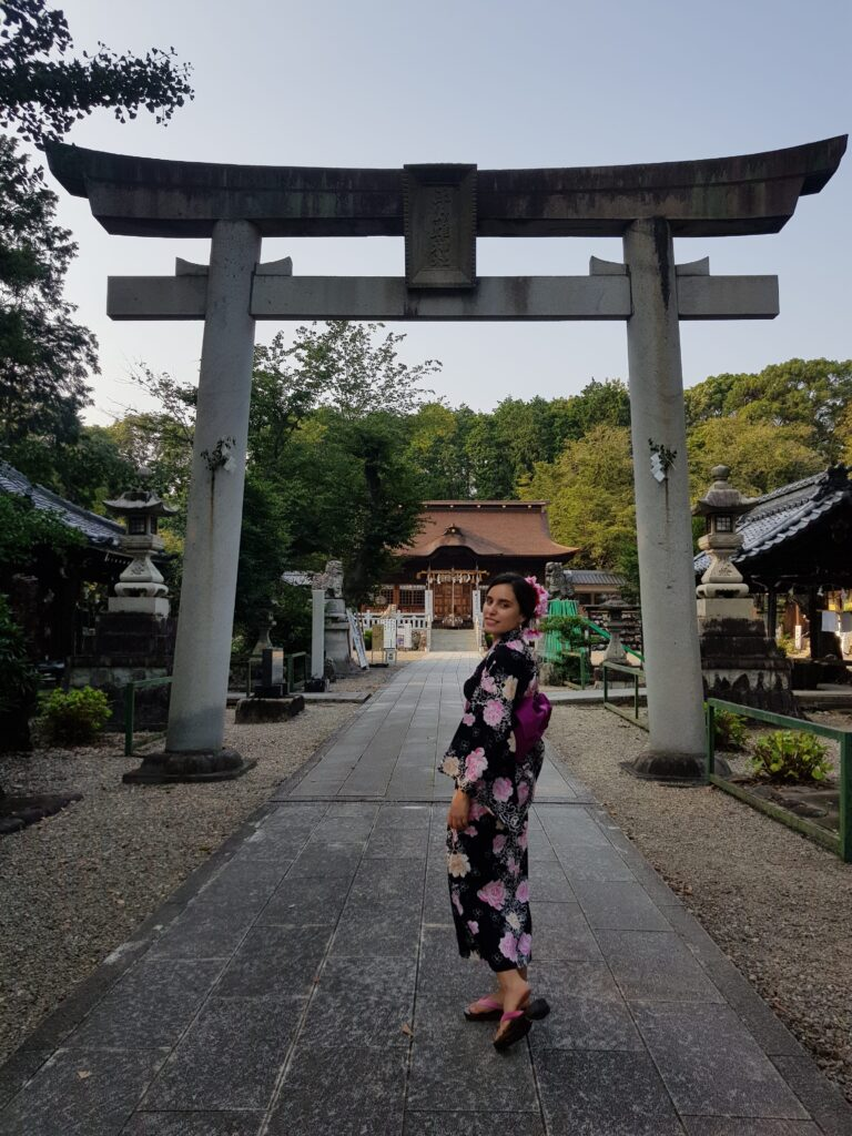 Trying a yukata (summer traditional clothes) for the Gifu city fireworks festival (photo credit: Aya Kaneoka)