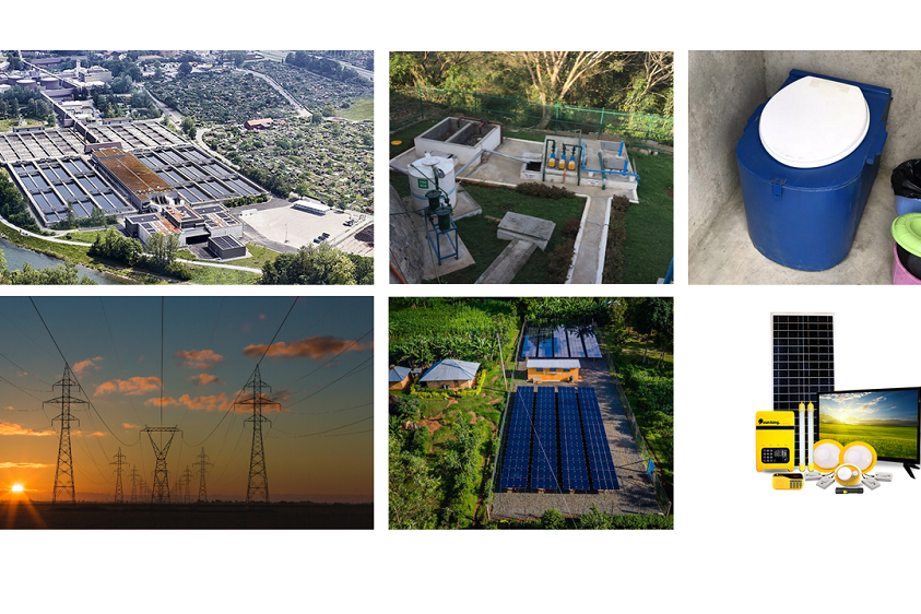 Pictures showing different sanitation approaches and electrification approaches