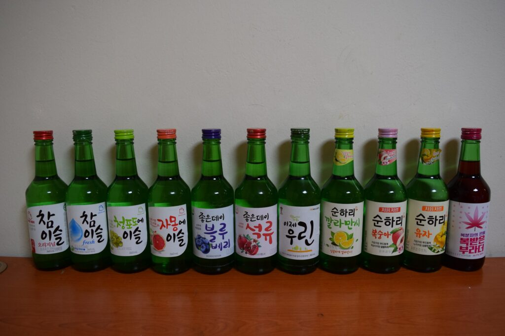 Bottles of soju