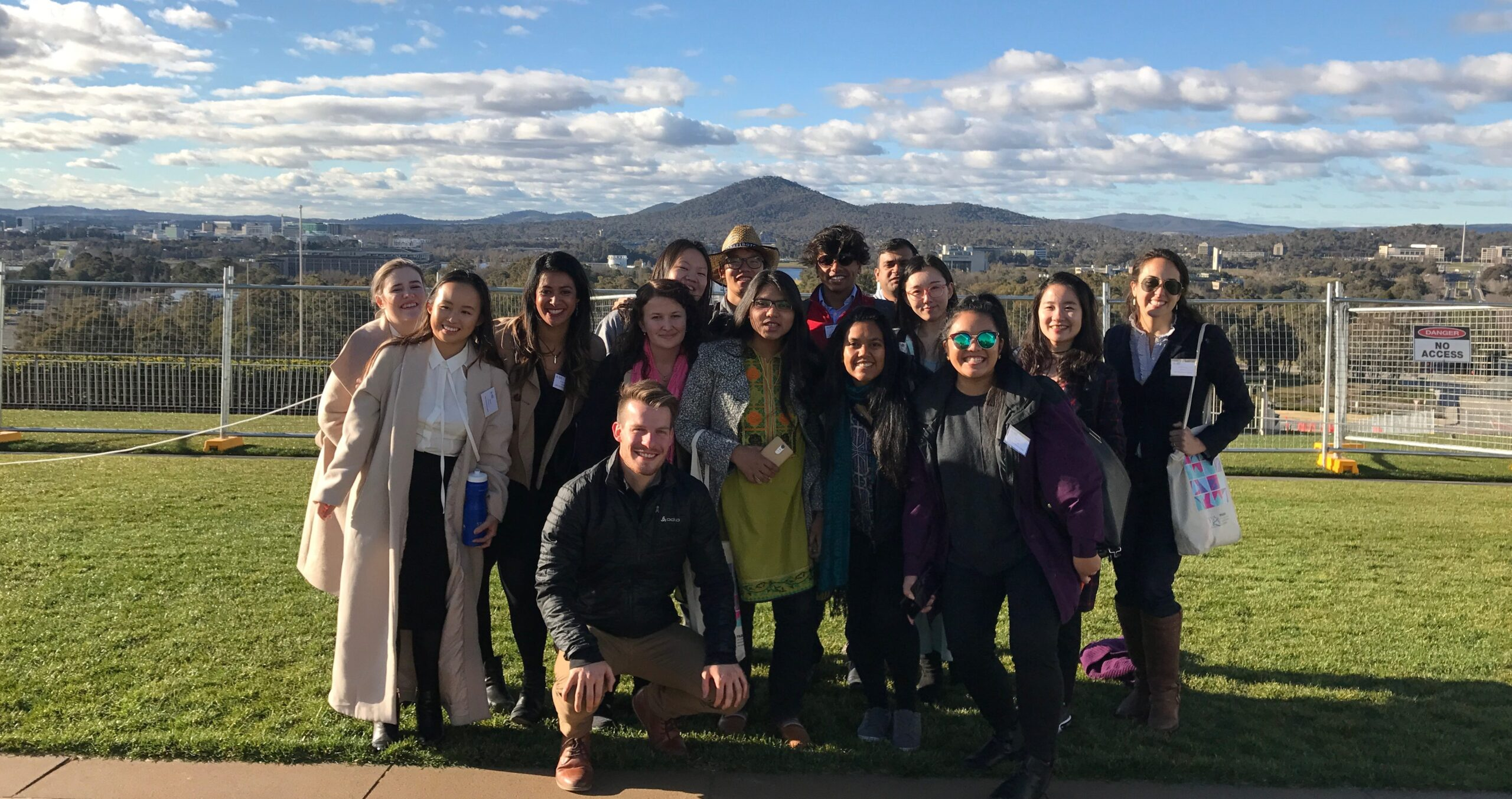A few of the student delegates on top of Parliament House