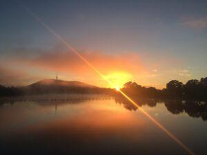 Morning sunrise over Lake Burley Griffin