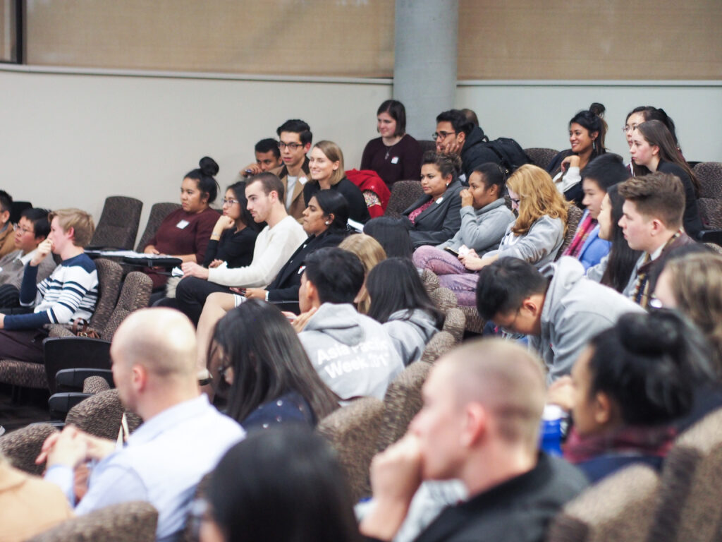 Attentive student delegates during one of the panels