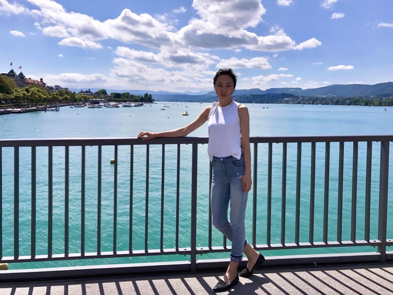 Xi Zhang enjoying the fresh air and the lake in Zurich.