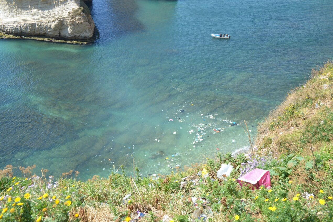 Water polluted by plastic waste