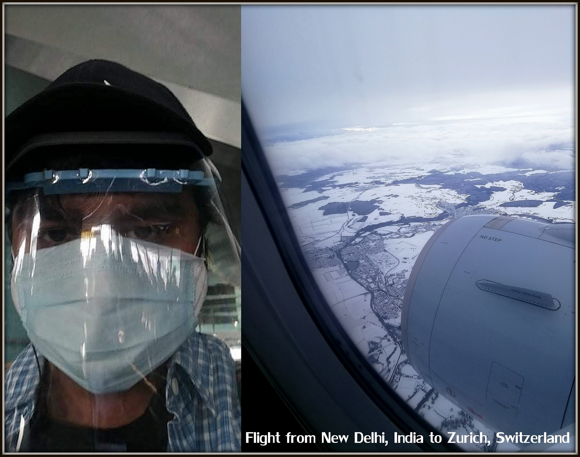 Man with visor and mask in airplane