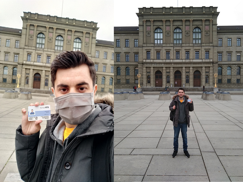 Author standing in front of ETH holding his student card
