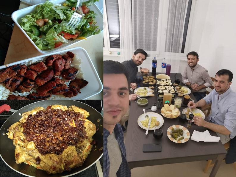 Salad, meat on rice, afghan dish, Käsefondue