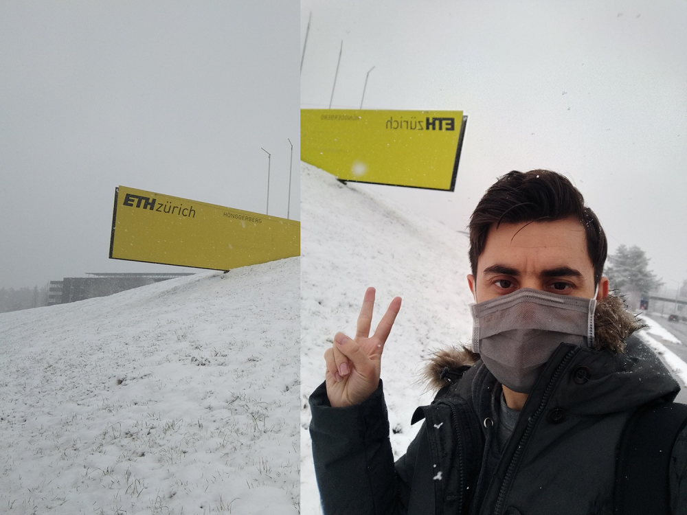 Author in the snow in front of an ETH Zurich sign