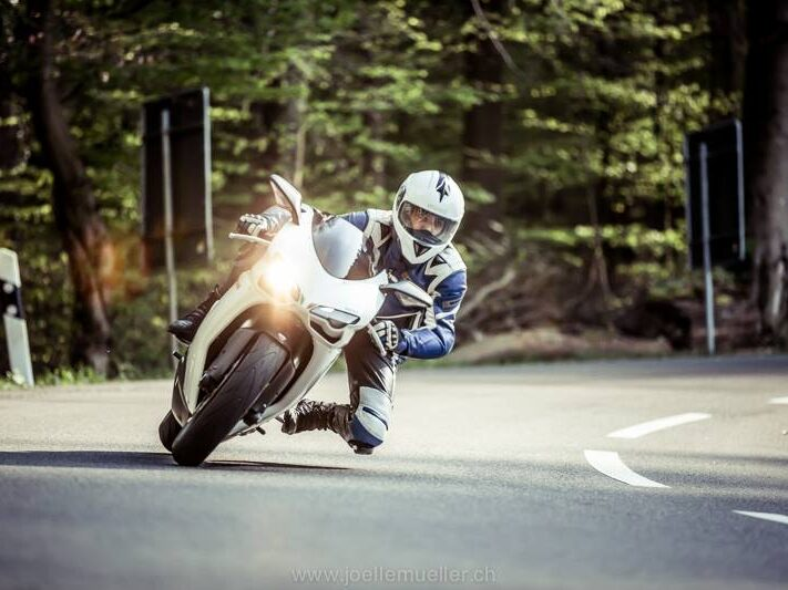 Florian Hauser with his motorcycle.